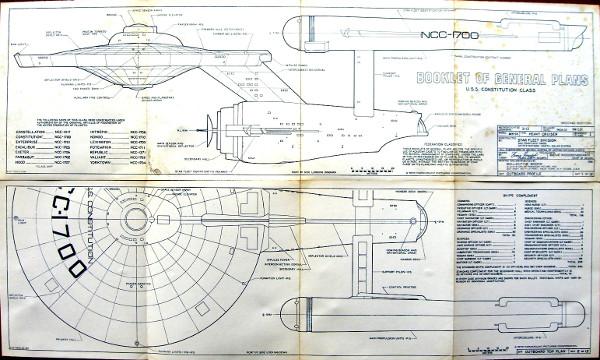 USS Enterprise (NCC-1701) blueprints, from a 1973 book