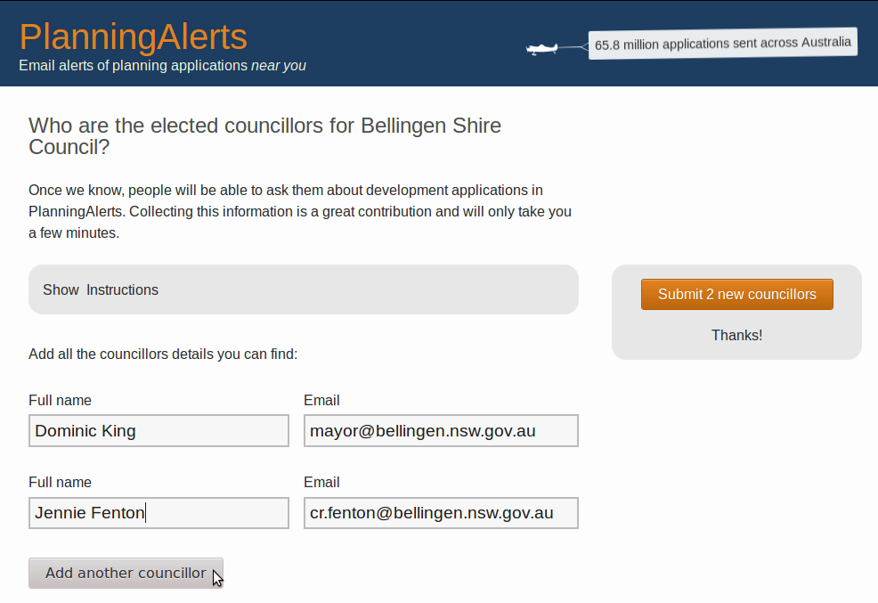 Screenshot showing an example of adding councillors to PlanningAlerts