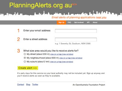 Planning Alerts website screenshot
