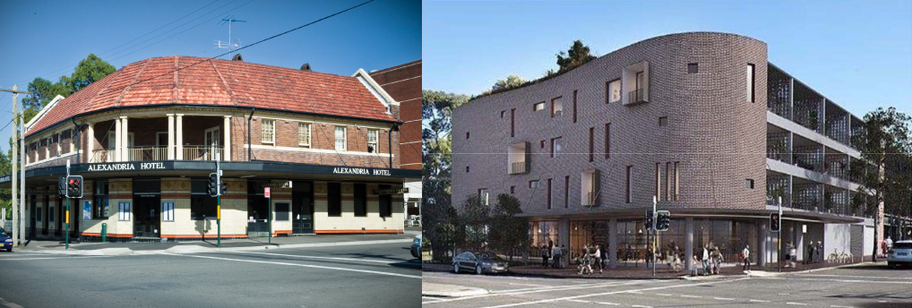 A photo of the current Alexandria Hotel and an artists impression of the proposed development