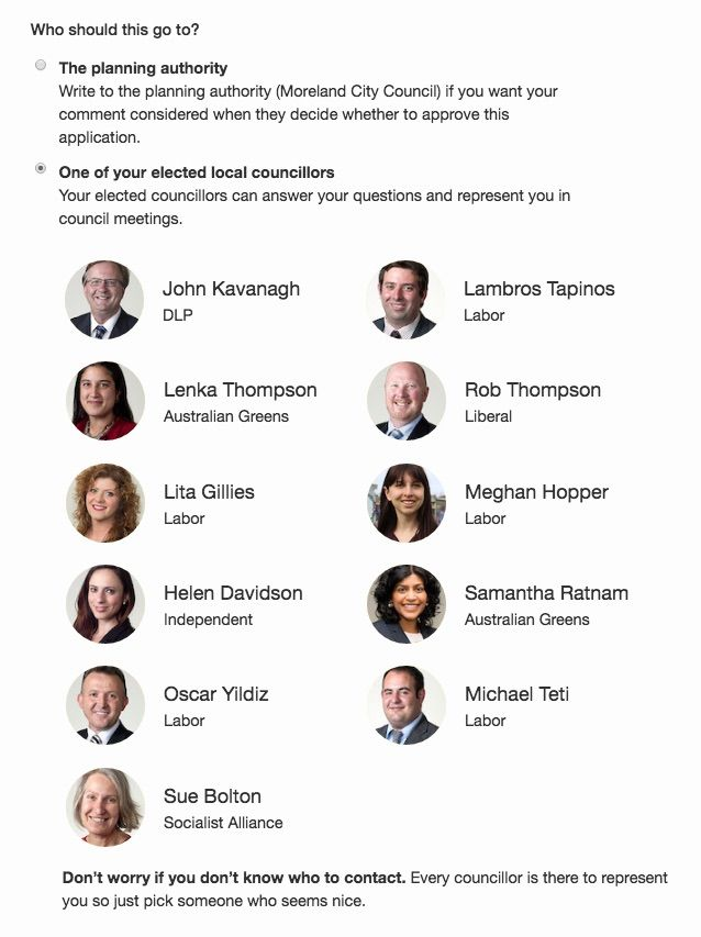 Image of the councillors you can write to on a page in PlanningAlerts