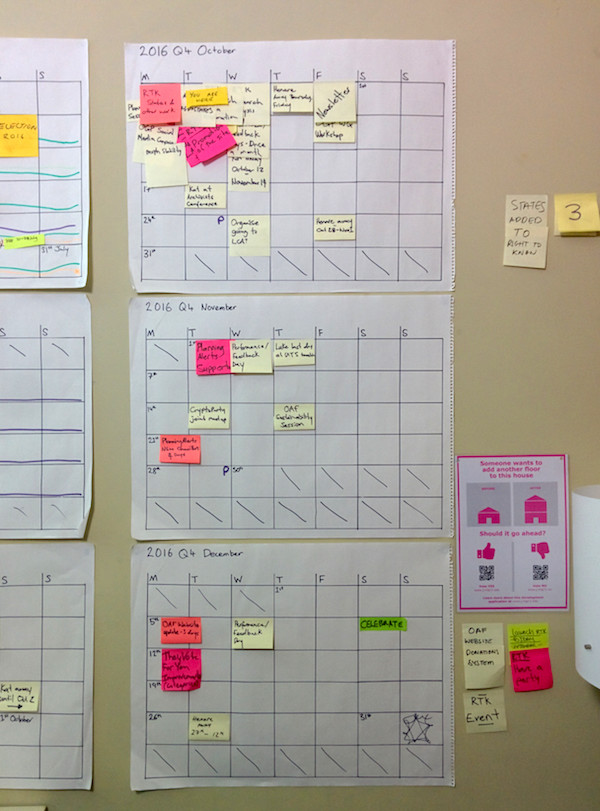 A photograph of our wall planner with what we've got planning from October through December in 2016