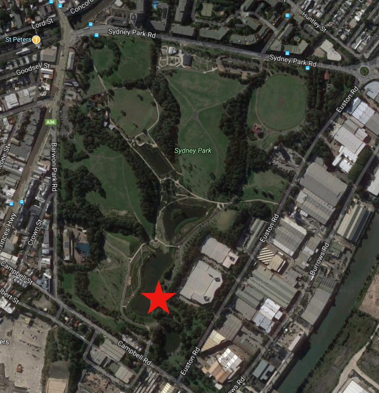 A maps with a star showing our spot on the south-east corner of Sydney Park Wetlands