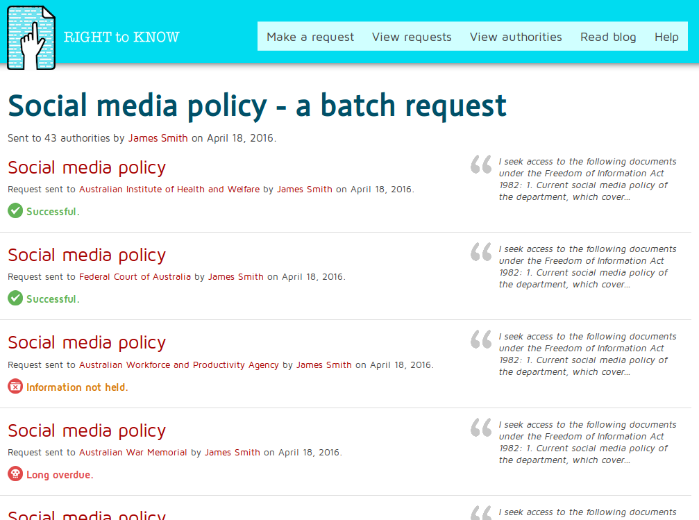 Screenshot showing the page of the Social Media Policy batch request on Right To Know